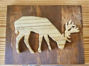 Wood Art Wall Hanging- Elk