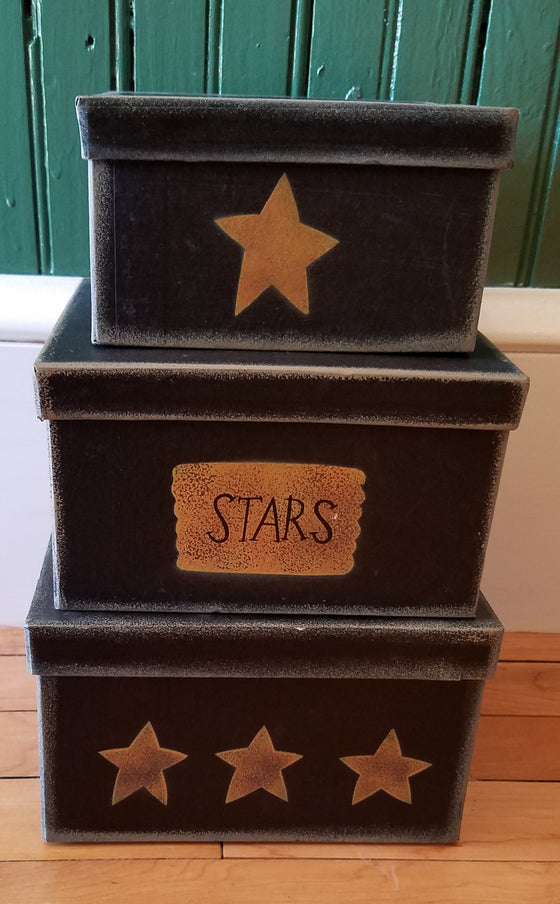 Vintage Painted Square Nesting Boxes
