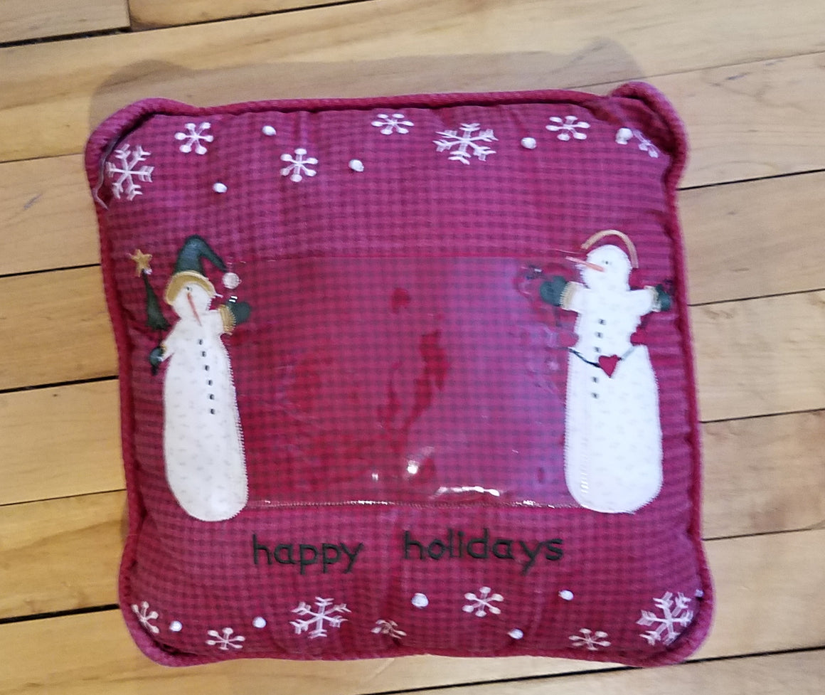 Pillow - Happy Holidays with picture pocket