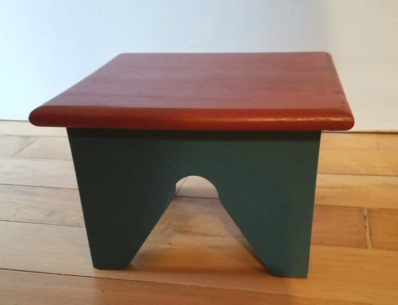Wooden Small Stool - Brick Red and Blue