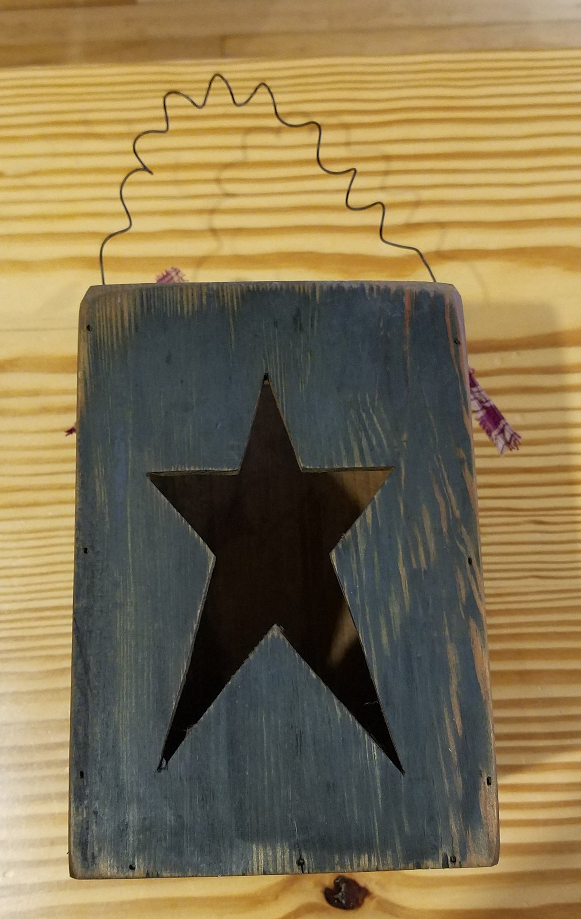 Primitive Wooden Box with Star Cutout