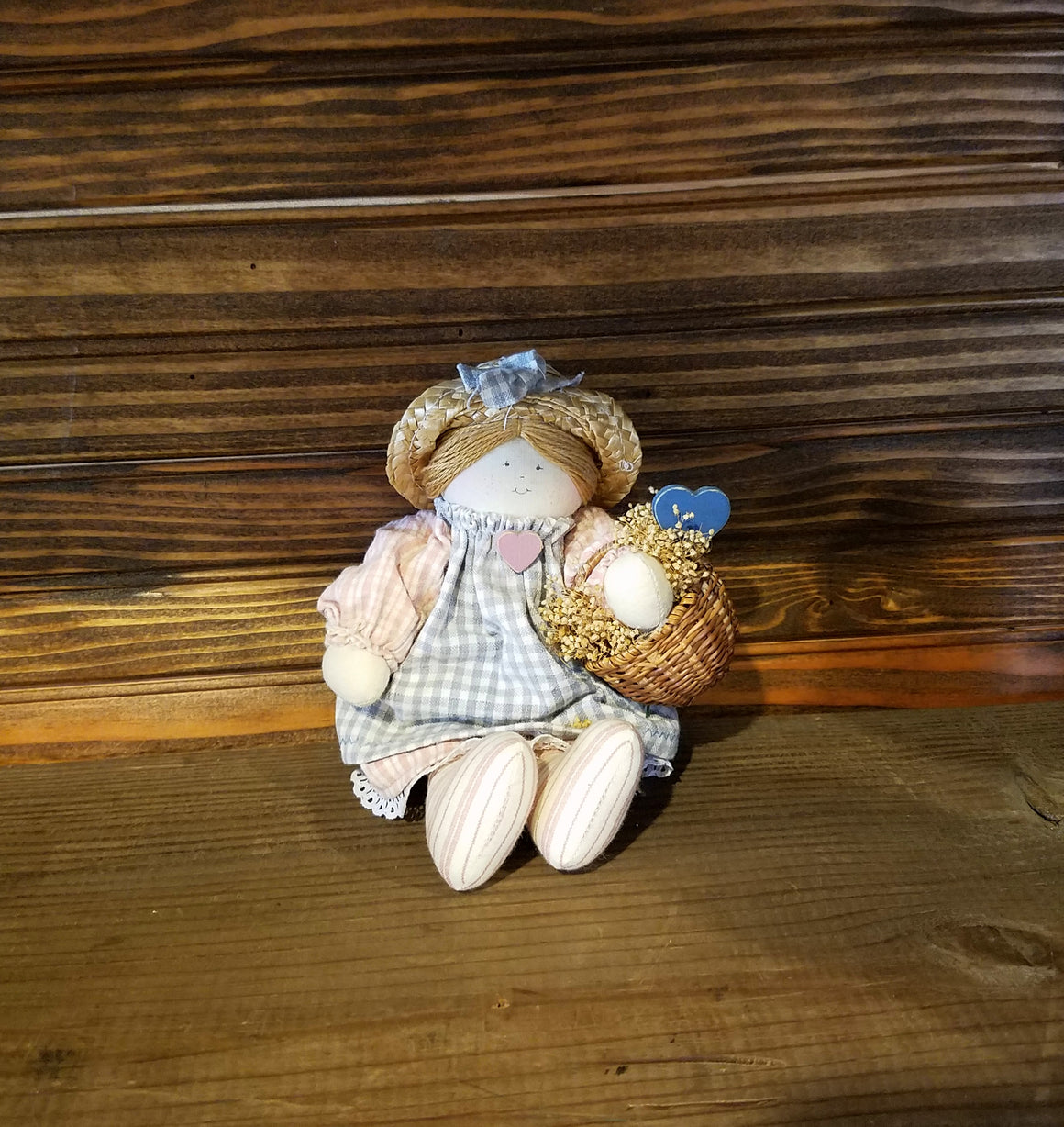 Doll - Primitive Girl with Basket Doll