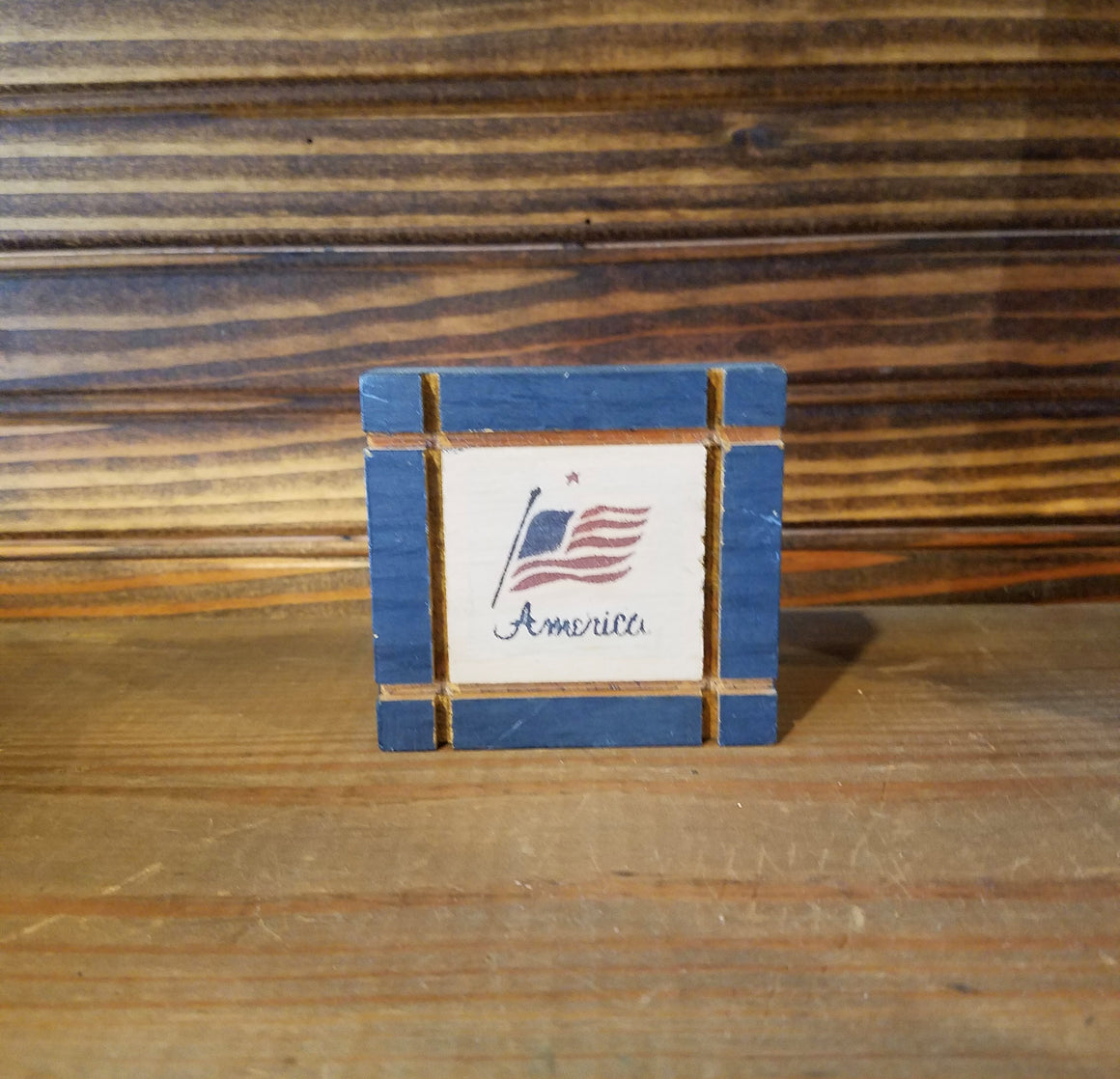 Small Wooden America Wall Hanging block
