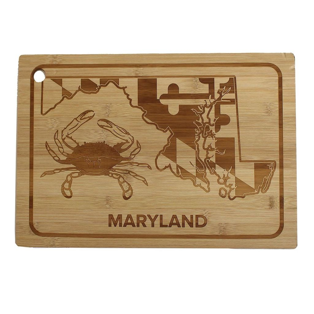 Crab and Maryland State Bamboo Cutting Board