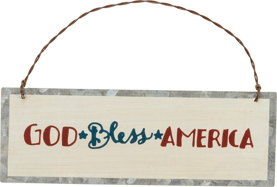 Tin Ornament - God Bless America