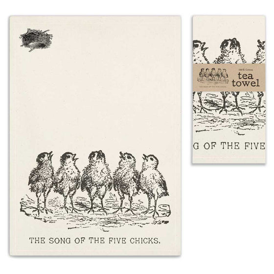 Tea Towel- Song of the Five Chicks