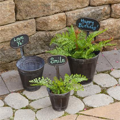 Tin Pots w/ Chalkboard Signs