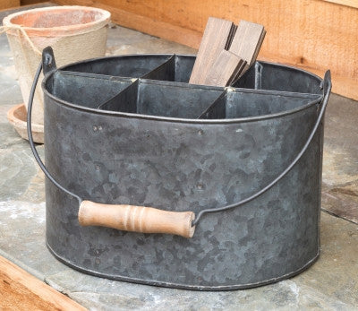 Metal Bucket Caddy w/ 6 compartments & handle