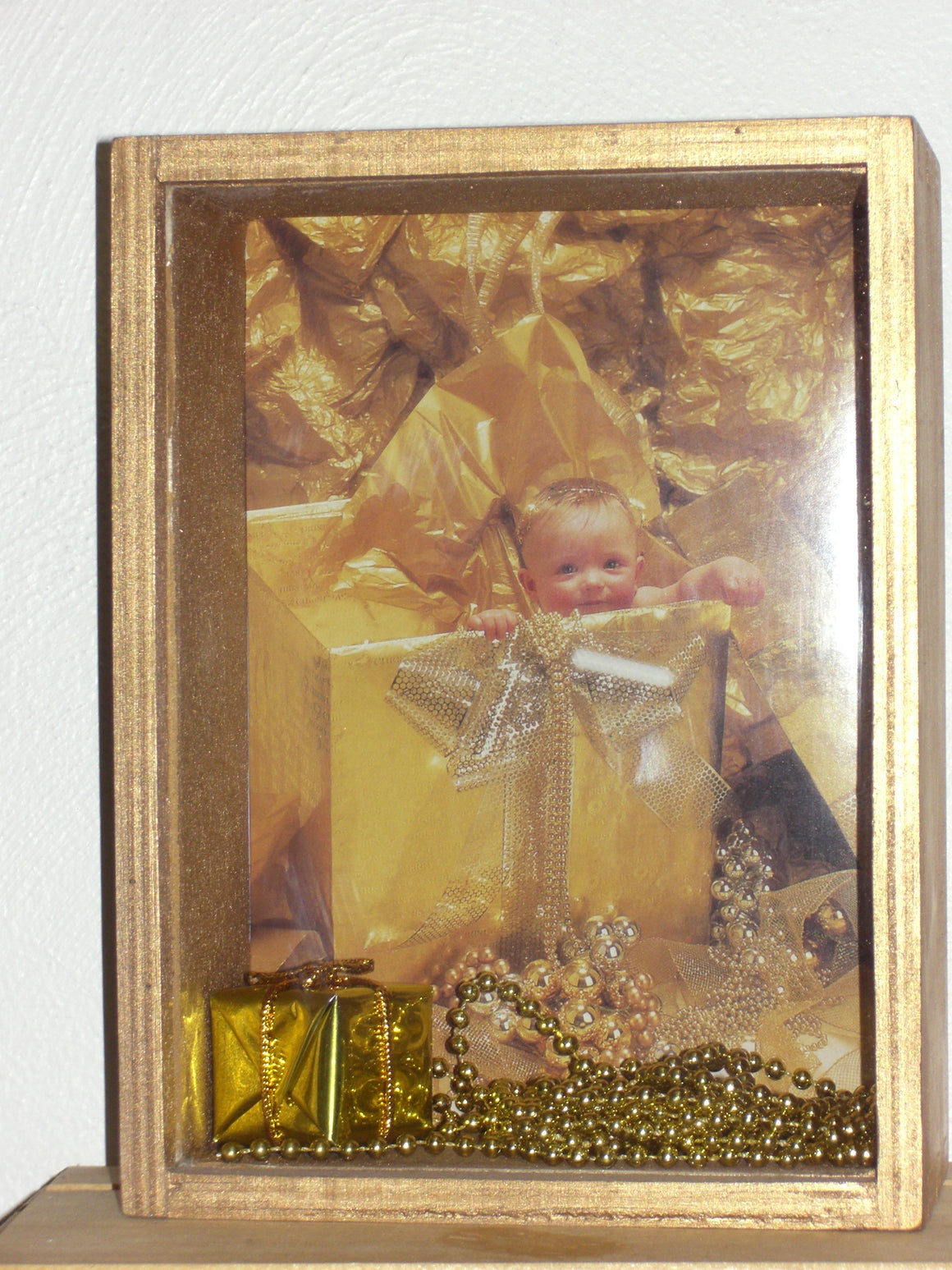 Shadow Box - Gold with Baby Present (Handcrafted)