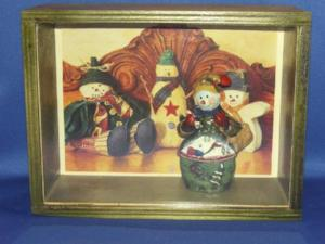 Shadow Box - Green with Rustic Snowmen (Handcrafted)