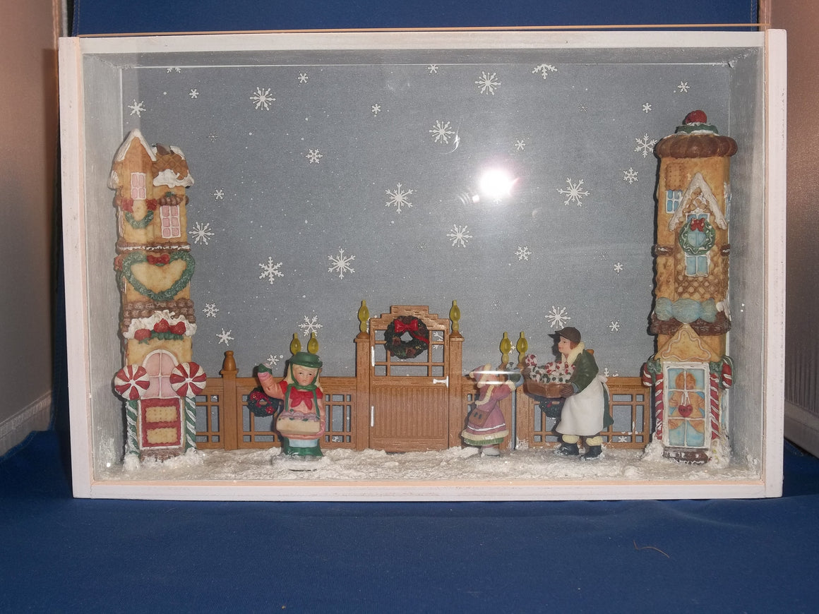 Shadow Box - Large White with Winter Village Scene (Handcrafted)