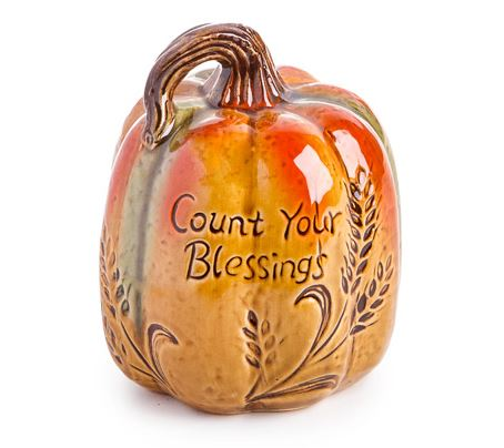 "Ceramic Pumpkin Decoration - ""Count Your Blessings"""