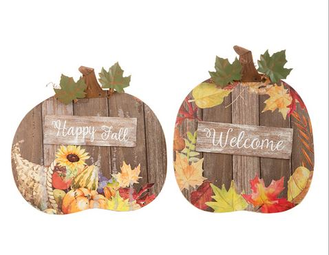 Wooden Fall Pumpkin Signs