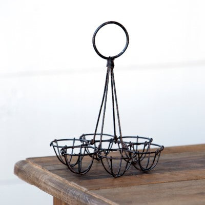 Antique Black Metal Egg Holder