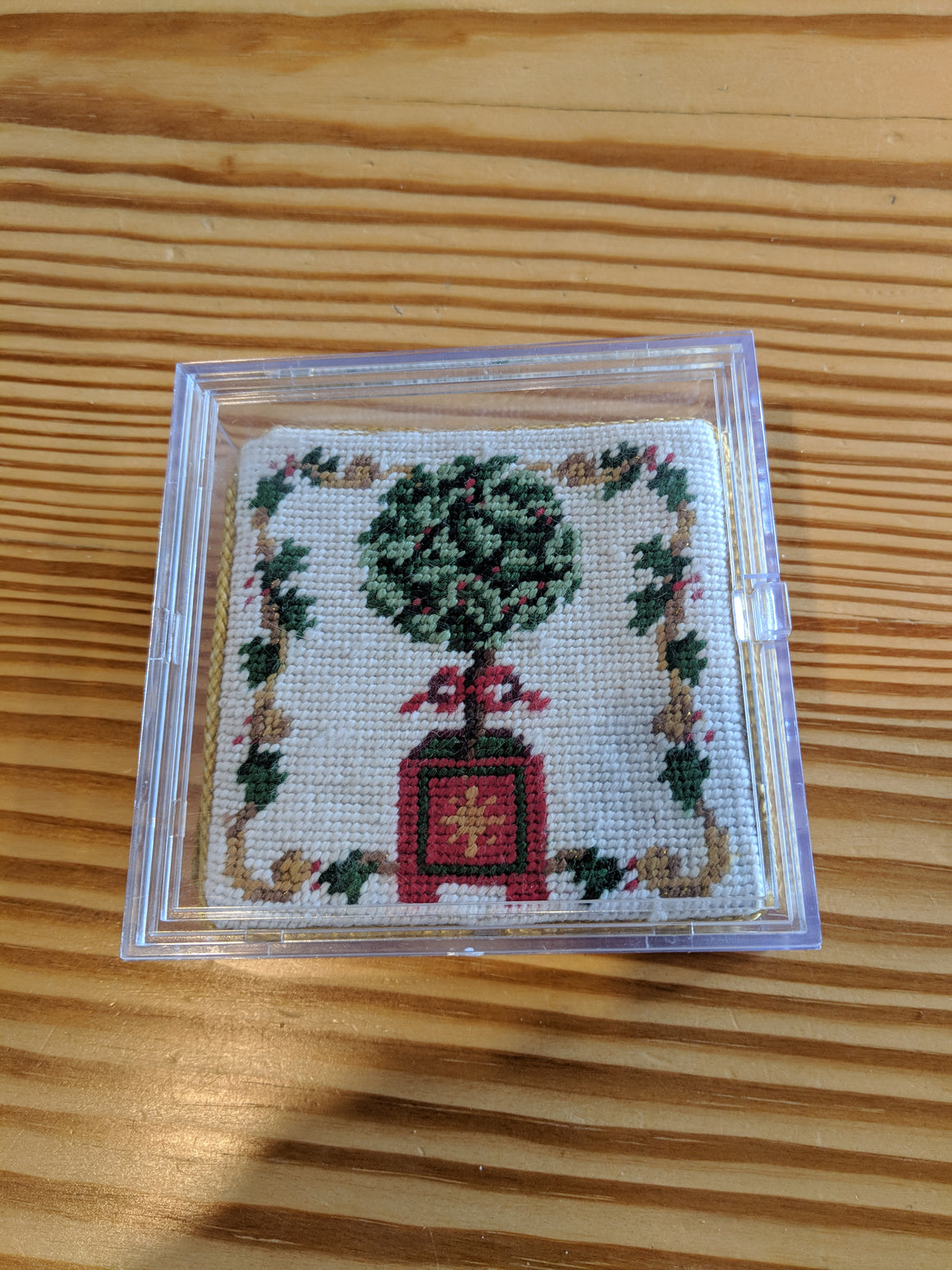 Coasters - Set of 4 Christmas needlepoint coasters in plastic storage case