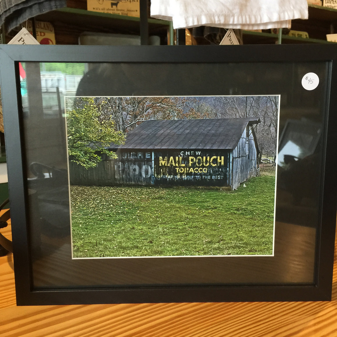 "Framed Photograph by James DeBuchananne - ""Mail Pouch Tobacco Barn"""