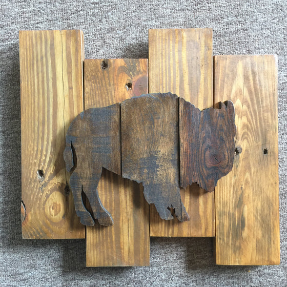 Wood Art Wall Hanging - Buffalo