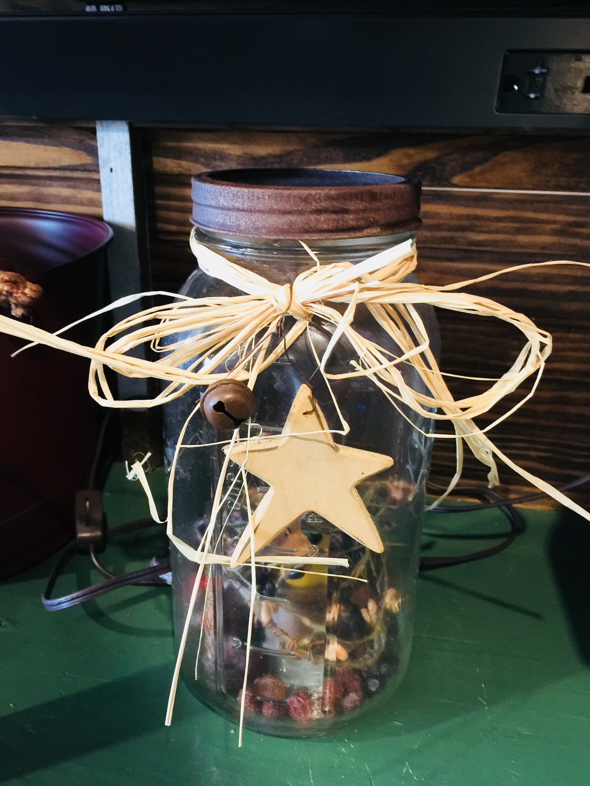 Electric Jar Lamp with Candle & Star Decoration