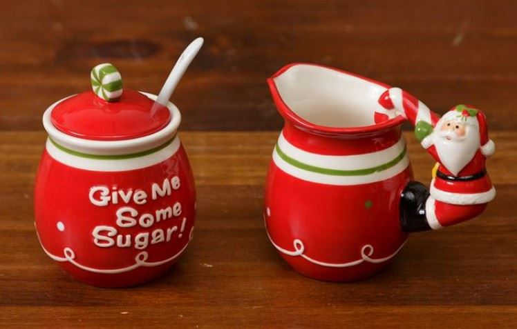 Ceramic Santa Sugar & Creamer Set