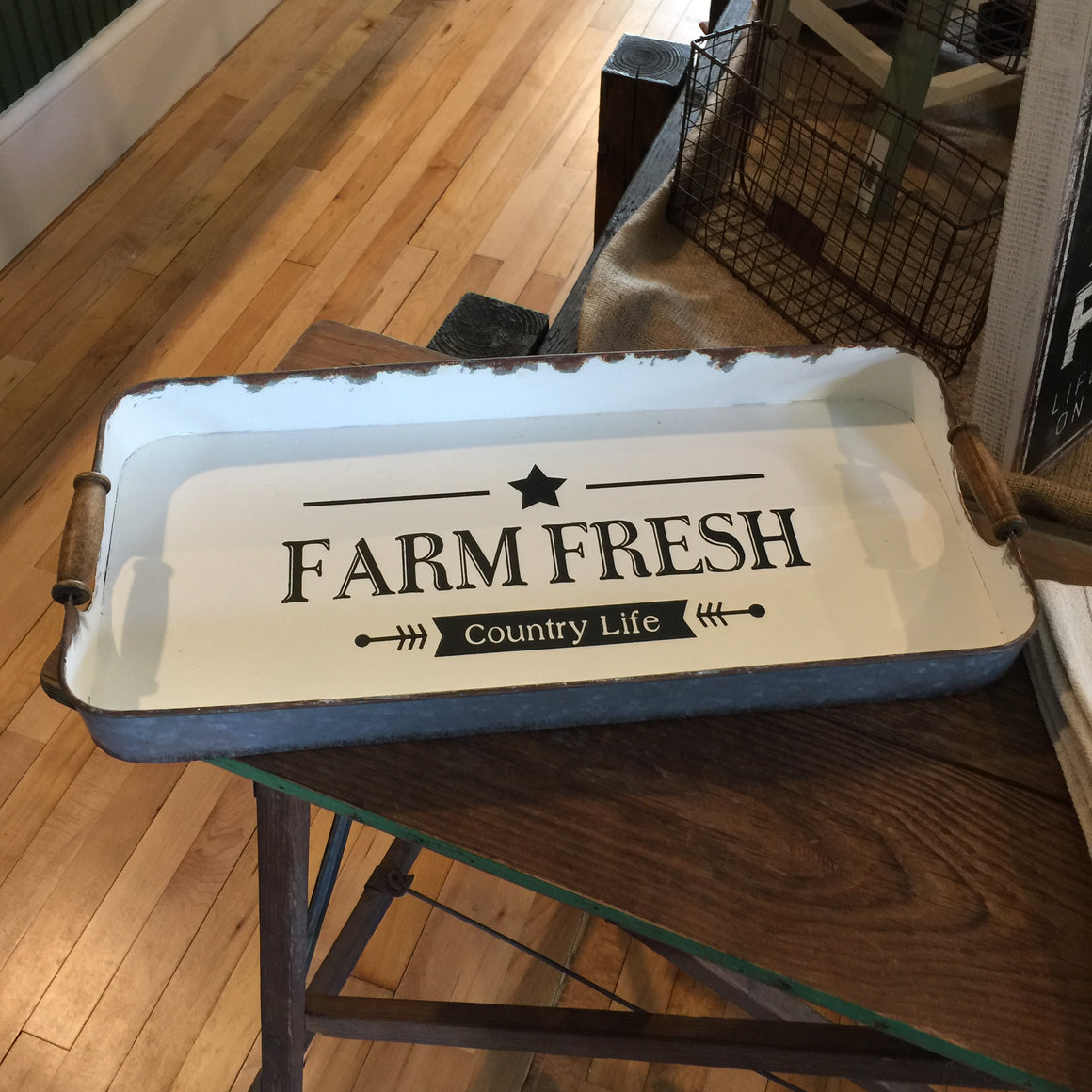 "Vintage Tray - ""Farm Fresh"""