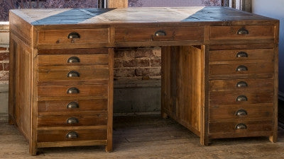 Old Pine Map Drawer Desk