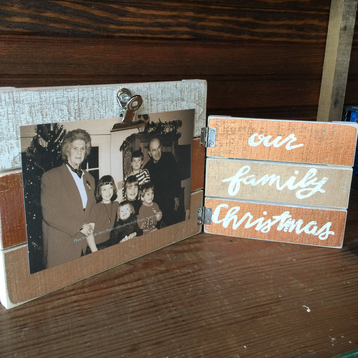 Wooden Folding Frame - Family Christmas