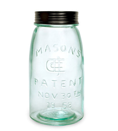 Mason Jar with Lid - Quart size - Green