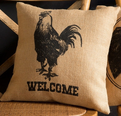"Pillow - Burlap 15"" Square Pillow - Rooster ""Welcome"""