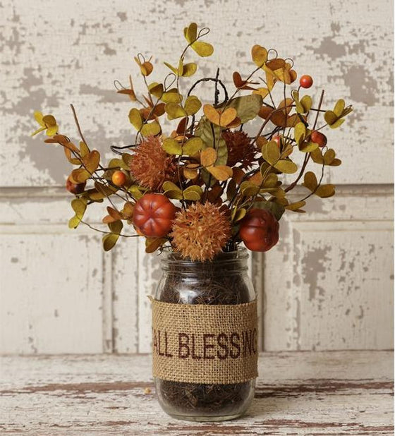 "Glass Vase of Fall Flowers ""Fall Blessings"" w/ Pumpkins"