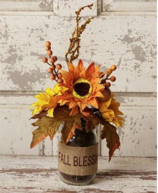 "Glass Vase of Fall Flowers ""Fall Blessings"" w/ Sunflowers"