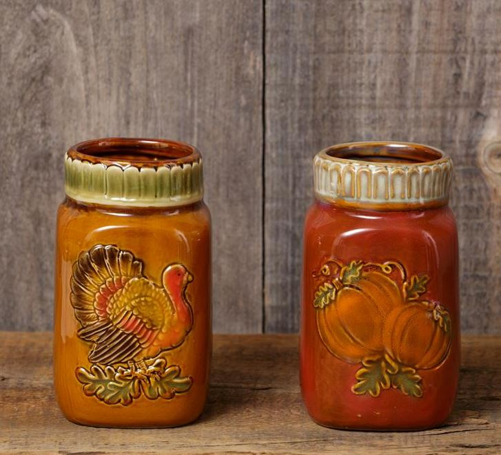 Porcelain Fall Jars (Turkey & Pumpkins)