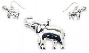 Jewelry - Silver Elephant Pendant & Earrings Set
