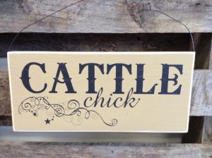 Wood Hanging Sign - Cattle Chick
