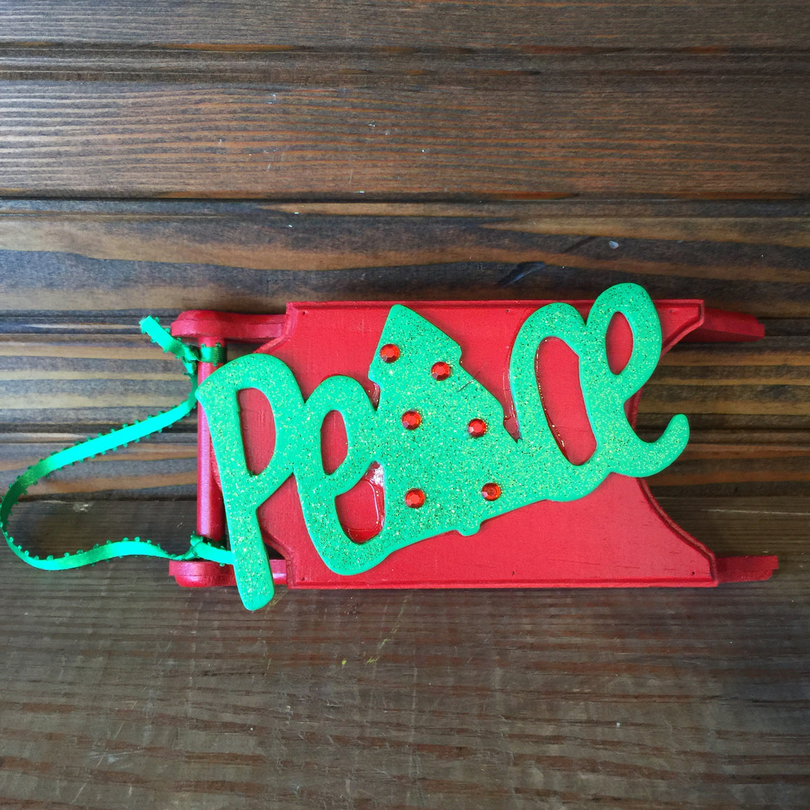 Holiday Decorated Small Red Sleds (Handcrafted)