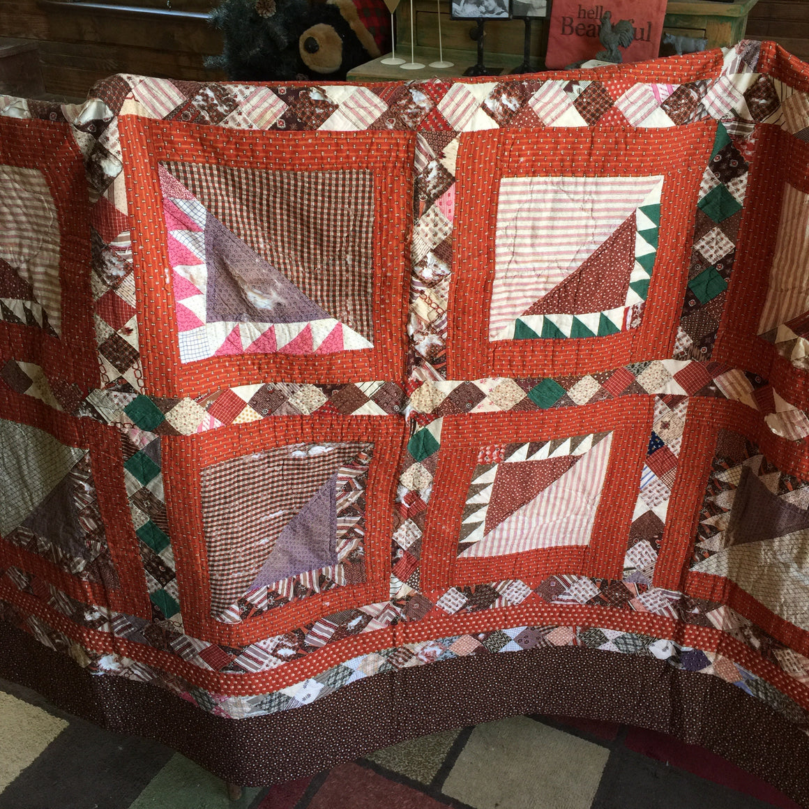 Antique Quilt (Brown/Orange)