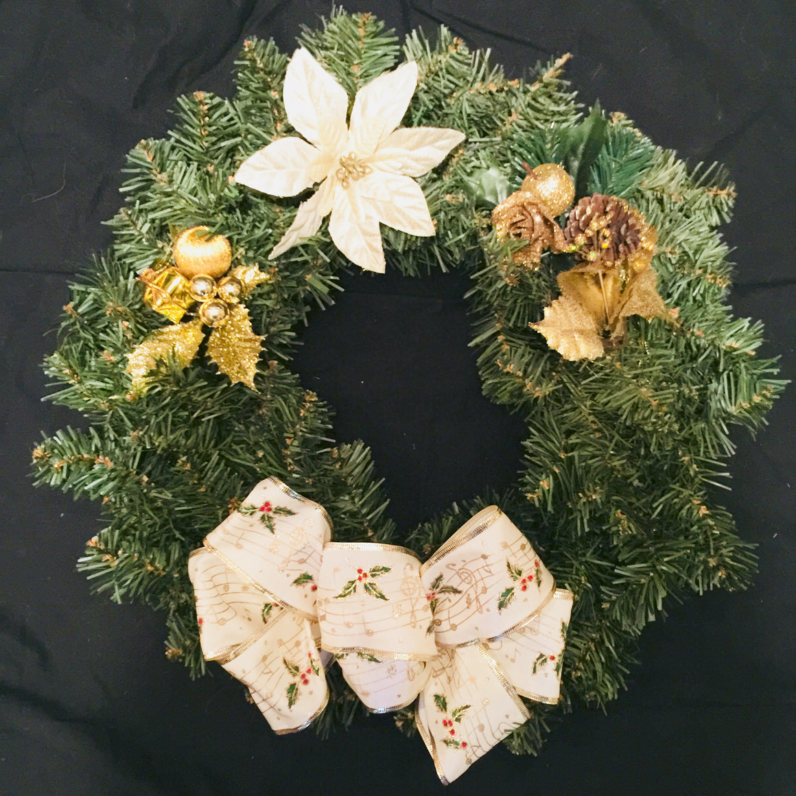 "Christmas Wreath - 14"" With Gold Accents"