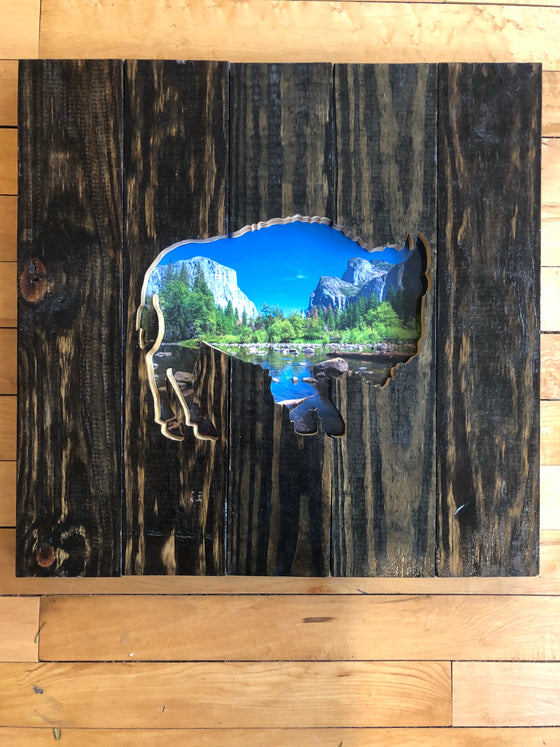 Wood Art Wall Hanging- Bison Yosemite