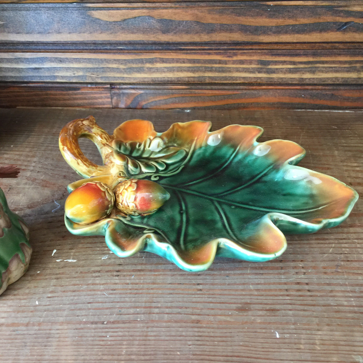 Ceramic Autumn Leaf Tray & Pumpkin Decoration