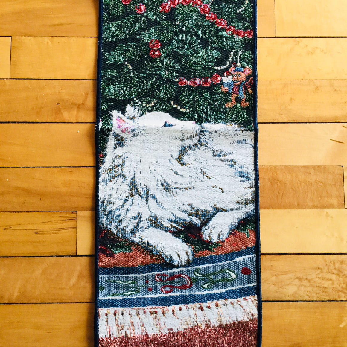 Woven Fabric Wall Hanging - Holiday Tree & White Cat