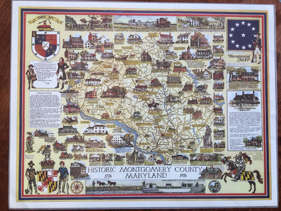 Print- Historic Montgomery County, Maryland Bicentennial Map