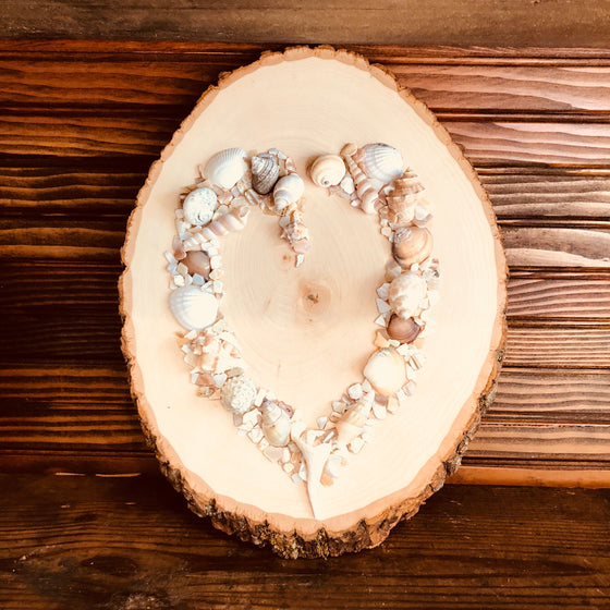 Sign - Oceanic Heart on Beautiful Wood Tree Oval