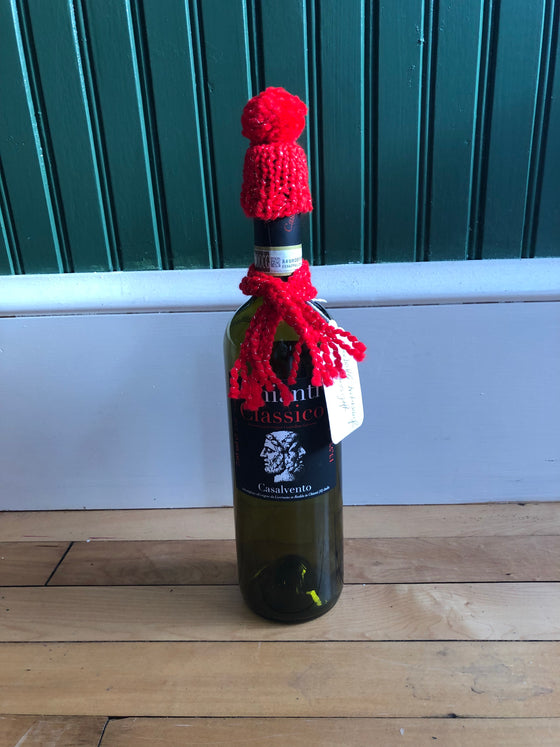 Wine Bottle Hat & Scarf Hand Knitted Decoration