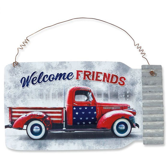 "Metal Sign - Patriotic Truck ""Welcome Friends"""
