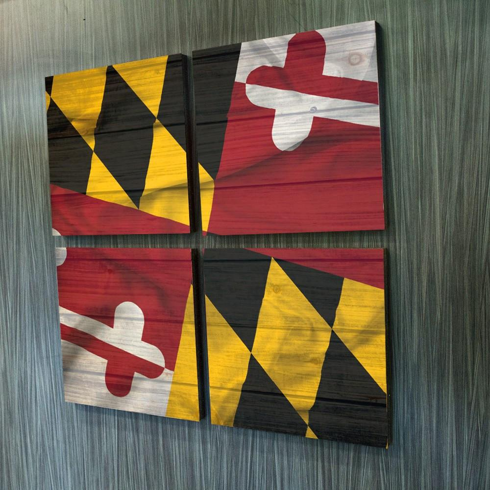 Textured Maryland Flag Mosaic Art Prints