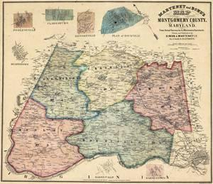 Print- Vintage Montgomery County, Maryland Map