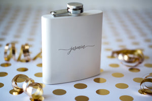 Personalized Matte White Hip Flask - Riverside Bridal