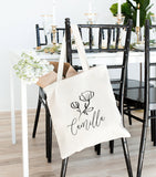 Modern Flower Personalized Tote Bag - Riverside Bridal