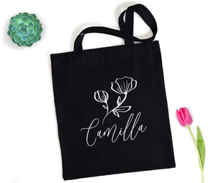 Modern Flower Personalized Tote Bag