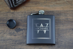 Matte Black Personalized Hip Flask - Riverside Bridal