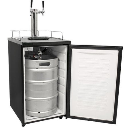 Edgestar 20 Inch Wide Dual Tap Kegerator for Full Size Kegs with Ultra Low Temp - KC2000TWIN - Black - Wine Cooler City